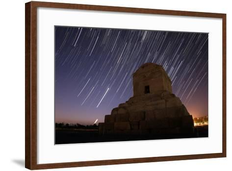 Time-Exposure in Morning Twilight as Venus and the Crescent Moon Rise Above Cyrus the Great's Tomb-Babak Tafreshi-Framed Art Print