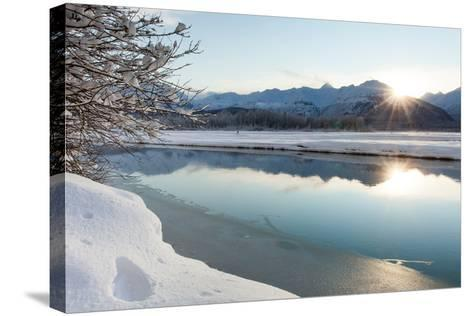 The Chilkat River with Heavy Snow and Mountains in the Background-Jak Wonderly-Stretched Canvas Print