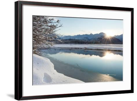The Chilkat River with Heavy Snow and Mountains in the Background-Jak Wonderly-Framed Art Print