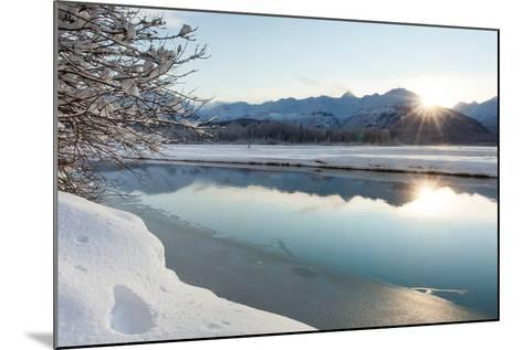 The Chilkat River with Heavy Snow and Mountains in the Background-Jak Wonderly-Mounted Photographic Print