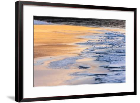 Orange Light from the Sunrise Reflects Off Smooth Ice, Contrasting with the Blue Rough Ice-Jak Wonderly-Framed Art Print