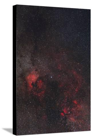 A Meteor Streaks the Sky Against the Milky Way and the Rich Nebula Field in Cygnus-Babak Tafreshi-Stretched Canvas Print