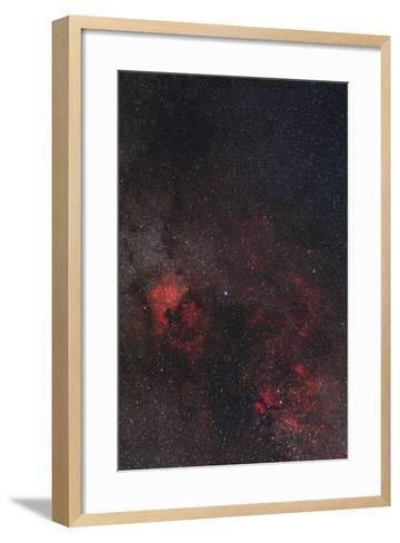 A Meteor Streaks the Sky Against the Milky Way and the Rich Nebula Field in Cygnus-Babak Tafreshi-Framed Art Print