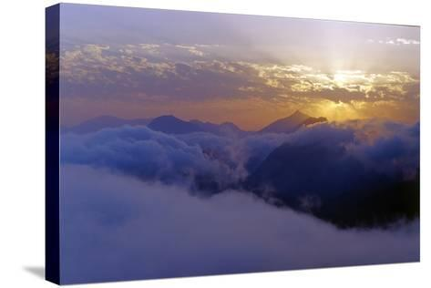 Above the Clouds at 3300 Meters on Mount Damavand, Looking at Sunset over the Alborz Mountains-Babak Tafreshi-Stretched Canvas Print