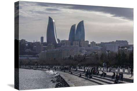 Cityscape of Baku on the Caspian Sea-Will Van Overbeek-Stretched Canvas Print