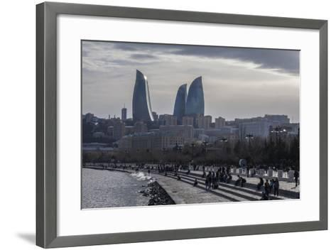 Cityscape of Baku on the Caspian Sea-Will Van Overbeek-Framed Art Print
