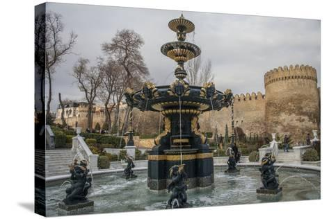 A Fountain Flows in Baku's Old City-Will Van Overbeek-Stretched Canvas Print