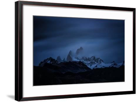 Snow-Blanketed Andes Mountains at Night with Flowing Clouds--Framed Art Print