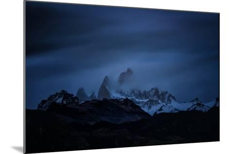Snow-Blanketed Andes Mountains at Night with Flowing Clouds--Mounted Photographic Print