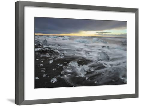 Crystal Clear Icebergs and Volcanic Sand Beach on the Atlantic Shore Near Jokulsarlon Glacier Lake-Babak Tafreshi-Framed Art Print