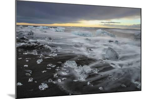 Crystal Clear Icebergs and Volcanic Sand Beach on the Atlantic Shore Near Jokulsarlon Glacier Lake-Babak Tafreshi-Mounted Photographic Print