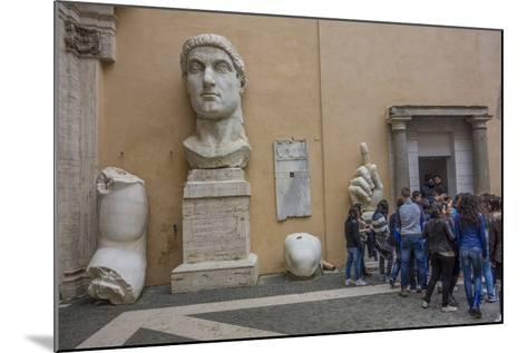 Tourists Line Up at the Entrance of the Capitoline Museum Next to a Bust of Constantine-Will Van Overbeek-Mounted Photographic Print