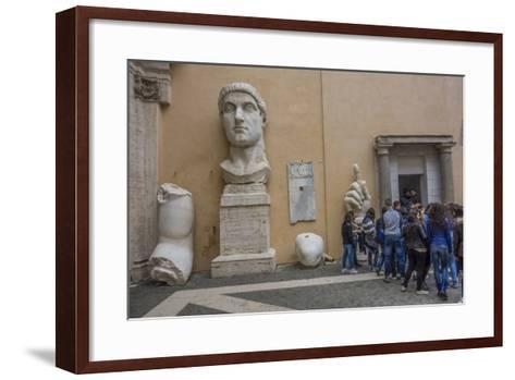 Tourists Line Up at the Entrance of the Capitoline Museum Next to a Bust of Constantine-Will Van Overbeek-Framed Art Print