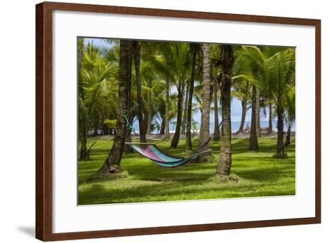 An Empty Hammock Suspended Between Palm Trees Along the Beach Near Parrita-Anand Varma-Framed Art Print