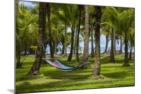 An Empty Hammock Suspended Between Palm Trees Along the Beach Near Parrita-Anand Varma-Mounted Photographic Print