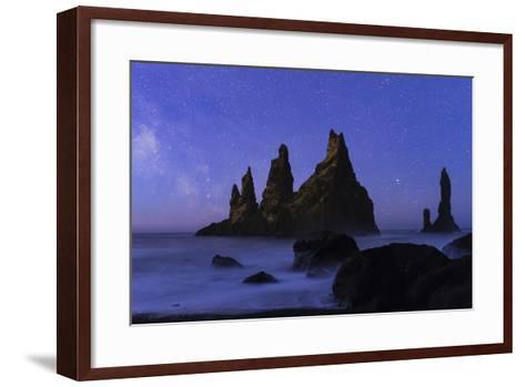 Night Sky and the Milky Way at the Break of Dawn over the Basalt Sea Stacks known as Reynisdrangar-Babak Tafreshi-Framed Art Print