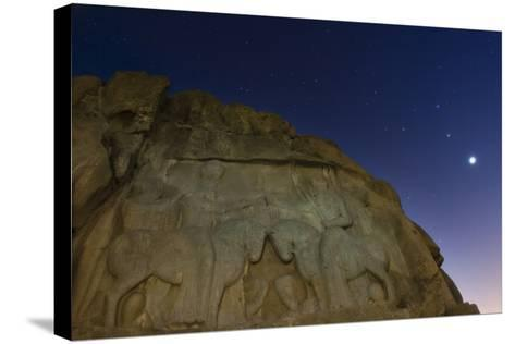 Night Sky over the Relief of an Ancient Persian King Ardashir I, Near Persepolis-Babak Tafreshi-Stretched Canvas Print