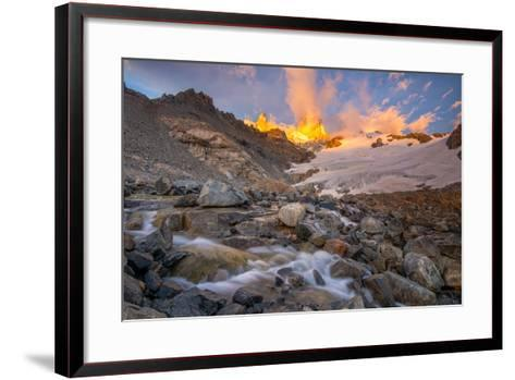 Alpenglow at Sunrise over a Patagonia Landscape with Snow and a Rushing, Cascading Stream--Framed Art Print