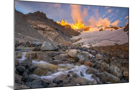 Alpenglow at Sunrise over a Patagonia Landscape with Snow and a Rushing, Cascading Stream--Mounted Photographic Print