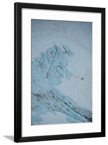 An Aerial View of Hikers in a Vast Patagonia Landscape of Snow and Ice--Framed Art Print