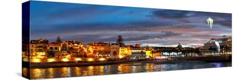 Kites Lit by Leds Flown over City and Bay of Cascais During the Annual Lumina Light Festival-Babak Tafreshi-Stretched Canvas Print