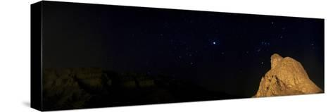 Sirius, and Orion and Taurus Above Oghab Kooh, a Mountain Resembling a Sitting Eagle-Babak Tafreshi-Stretched Canvas Print