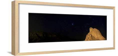 Sirius, and Orion and Taurus Above Oghab Kooh, a Mountain Resembling a Sitting Eagle-Babak Tafreshi-Framed Art Print
