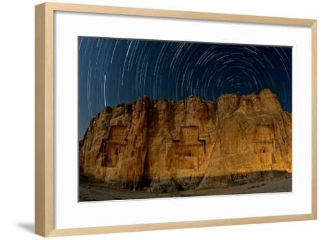 The Night Sky Above the 2500-Year Old Tombs of Ancient Persian Kings of the Achaemenid Empire-Babak Tafreshi-Framed Art Print