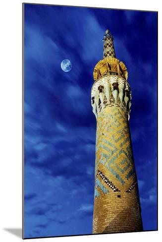 The Moon in the Evening Sky Above the Historic Minaret of Tekeye Mirchaqmaq, in Yazd, Iran-Babak Tafreshi-Mounted Photographic Print