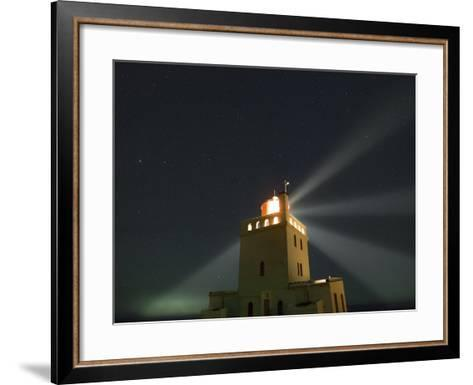 Stars Above a Lighthouse in Southern Iceland-Babak Tafreshi-Framed Art Print
