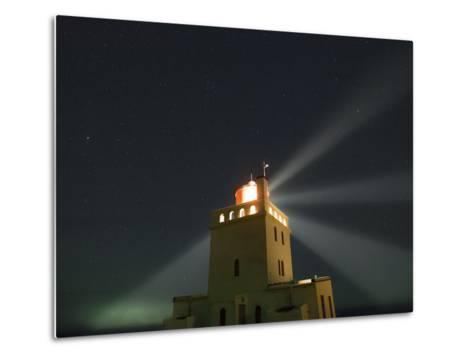 Stars Above a Lighthouse in Southern Iceland-Babak Tafreshi-Metal Print