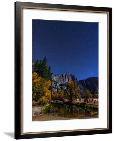 A Moonlit Autumn Night with Polaris, and Constellations Ursa Major and Ursa Minor over Aspen Trees-Babak Tafreshi-Framed Art Print