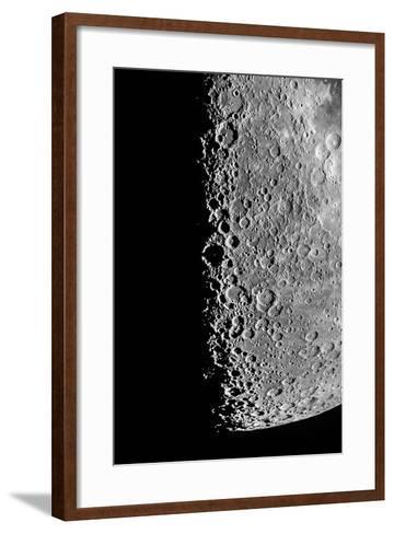 The Moon Seen Through a Telescope with Numerous Craters Along the Lunar Terminator-Babak Tafreshi-Framed Art Print
