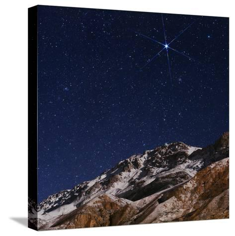 Sirius and the Constellation Canis Major Above the Alborz Mountains on a Winter Night-Babak Tafreshi-Stretched Canvas Print