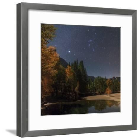 Bright Star Sirius and Constellation Orion over the Merced River in Moonlight-Babak Tafreshi-Framed Art Print