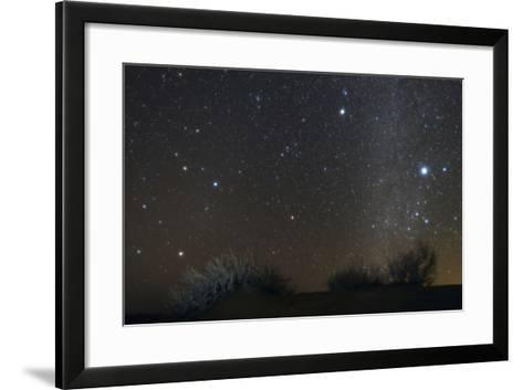 Constellations Leo and Hydra; the Milky Way; Saturn; Bright Stars Sirius and Procyon, over Desert-Babak Tafreshi-Framed Art Print