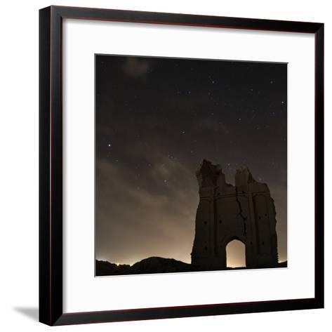 Sirius and Constellations Orion and Taurus over Ruins of the Ancient City Gate of Sar Yazd-Babak Tafreshi-Framed Art Print