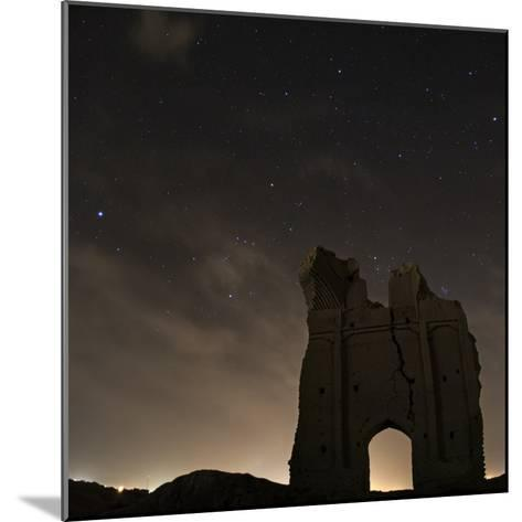 Sirius and Constellations Orion and Taurus over Ruins of the Ancient City Gate of Sar Yazd-Babak Tafreshi-Mounted Photographic Print