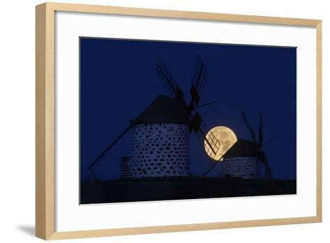 The Full Moon, a Wolf Moon, First Full Moon after the Winter Solstice, at Dawn Behind Windmills-Babak Tafreshi-Framed Art Print