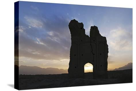 Sunset the at Thousand-Year-Old Ruins of the Ancient City Gate of Sar Yazd, or Farafar, Iran-Babak Tafreshi-Stretched Canvas Print
