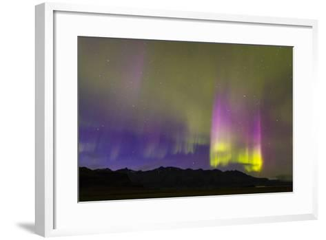 A Northern Lights Display with Strong Light Pillars During a Geomagnetic Solar Storm-Mike Theiss-Framed Art Print
