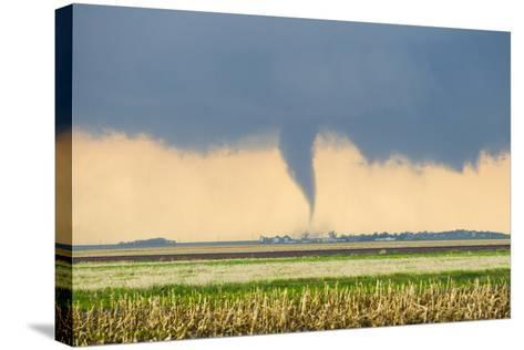 A Stove Pipe Tornado Touches Down over a Farmstead and Causes Lots of Damage and Destruction-Mike Theiss-Stretched Canvas Print