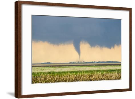 A Stove Pipe Tornado Touches Down over a Farmstead and Causes Lots of Damage and Destruction-Mike Theiss-Framed Art Print