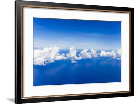 Cumulus Clouds Floating Above Flat Calm Seas on the Atlantic Ocean, Somewhere Near the Bahamas-Mike Theiss-Framed Art Print