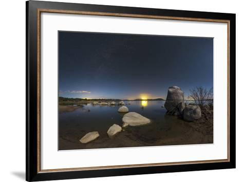 In a Moonlit Night the Milky Way Appears Above Lake Alqueva, Portugal-Babak Tafreshi-Framed Art Print