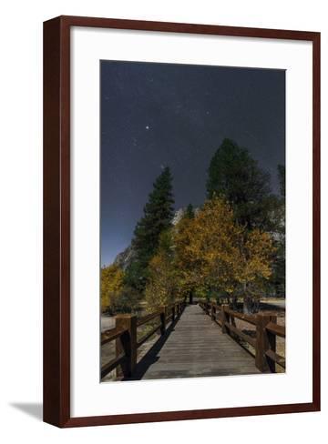 Planet Jupiter, in Constellation Taurus, Above a Footbridge over the Merced River-Babak Tafreshi-Framed Art Print