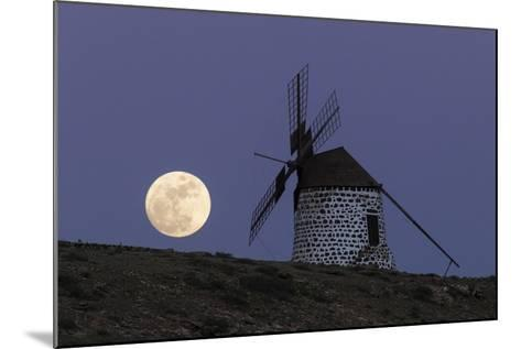 The Full Moon, and Wolf Moon, the First Full Moon after the Winter Solstice, over a Windmill-Babak Tafreshi-Mounted Photographic Print