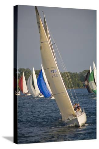 A Sailboat Race in Toronto Harbour Area-Tim Thompson-Stretched Canvas Print