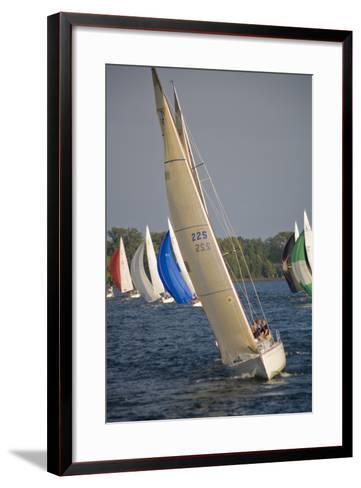 A Sailboat Race in Toronto Harbour Area-Tim Thompson-Framed Art Print