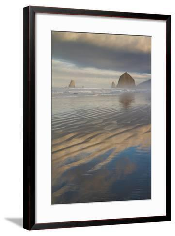 Haystack Rock, the Needles, and Reflections of Clouds at Sunrise-Greg Winston-Framed Art Print
